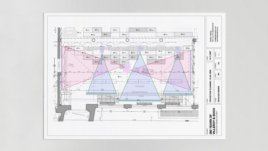Stefan Helling Triad Villery Boch 260 Years Event Projection Drawing Plan View